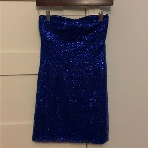 Blue sequin strapless dress